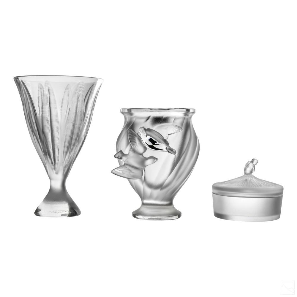 Lalique French Crystal Flower Vases & Trinket Box
