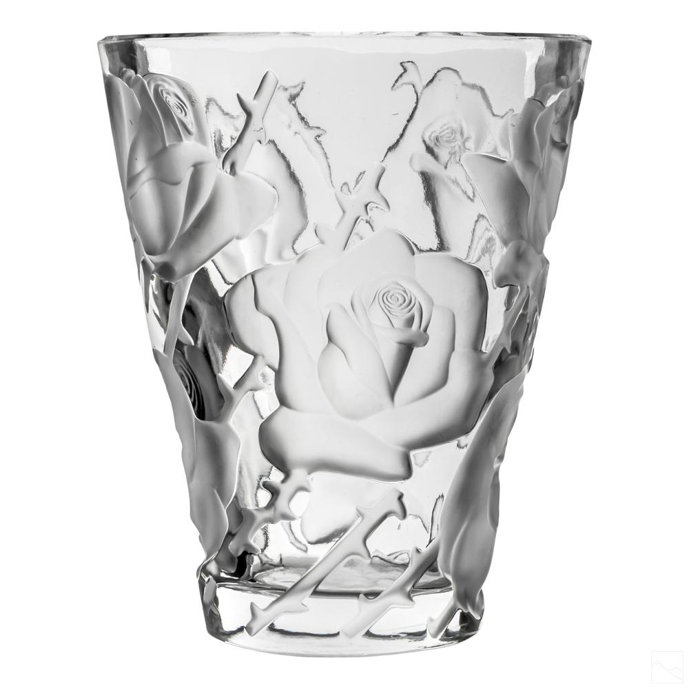Lalique Ispahan Frosted Rose Crystal Glass Vase 9