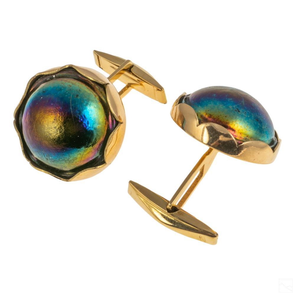 18K Gold Black Tahiti Mabe Peacock Pearl Cufflinks