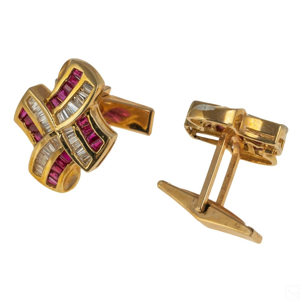 14K Gold Modern 4 CT TW Diamond Ruby Cufflinks 14g