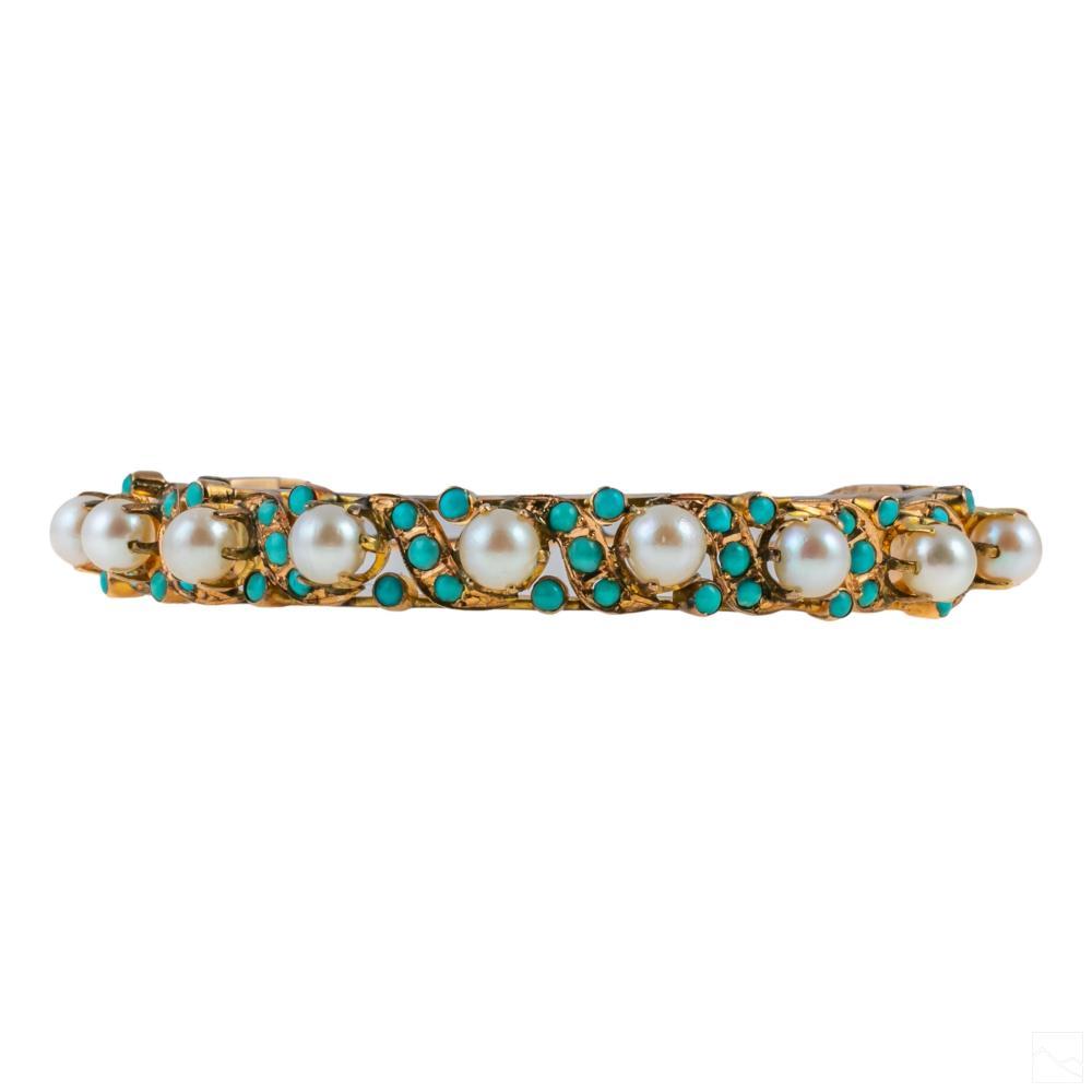 14K Gold Pearl & Turquoise Hinged Bangle Bracelet