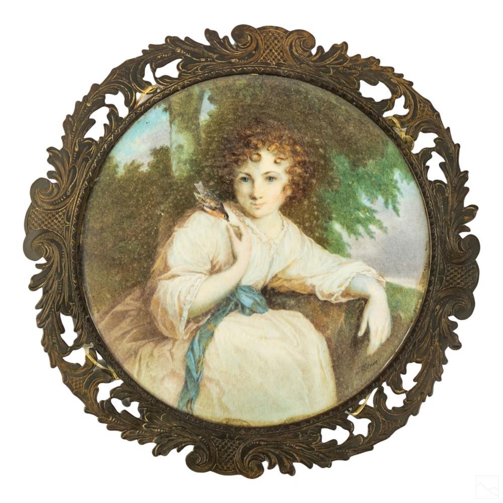 J Jones Signed Antique Miniature Portrait Painting