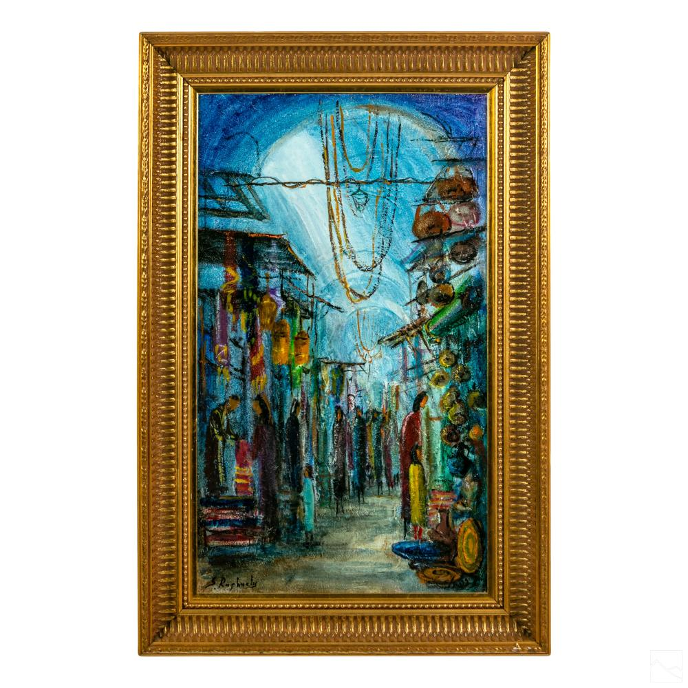 Zvi Raphaeli 1924-2005 Figural Market Oil Painting