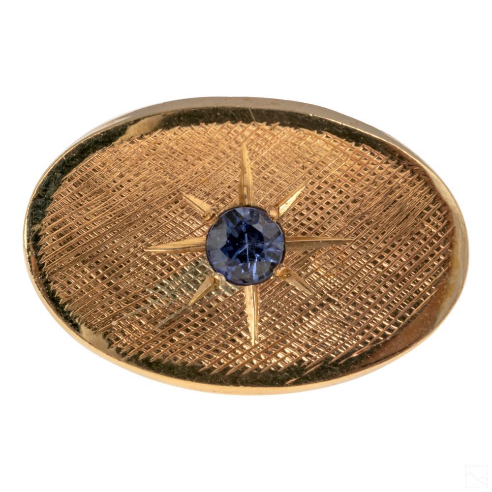 14K Gold Tiffany & Co. Retro Sapphire Tie Tack Pin