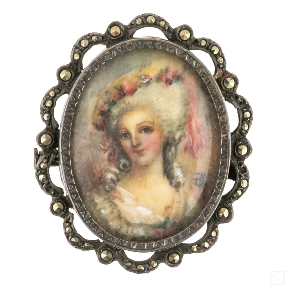 Sterling Silver Antique Painted Royal Portrait Pin