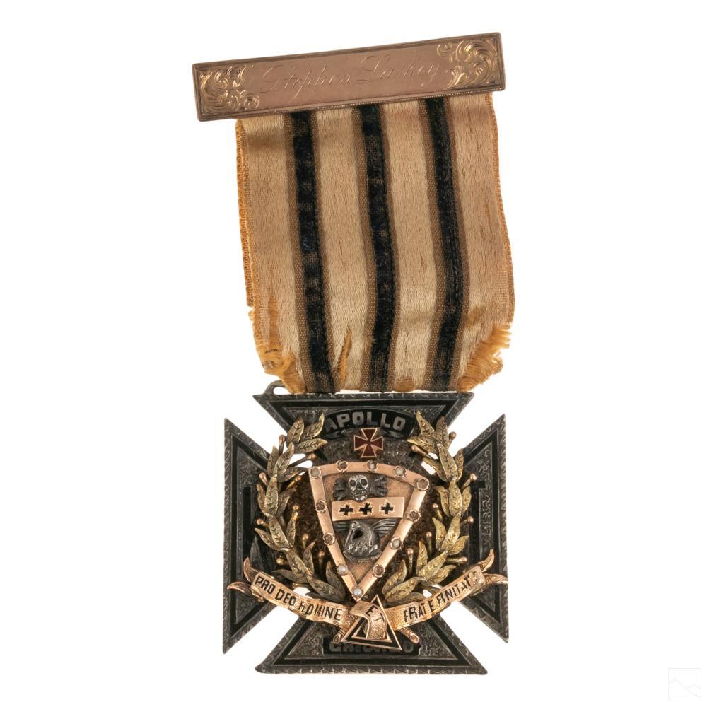 14K Gold Sterling Silver Chicago Masonic Cross 47g