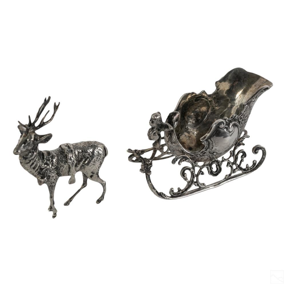 German 800 Silver Christmas Deer & Sleigh Figurine