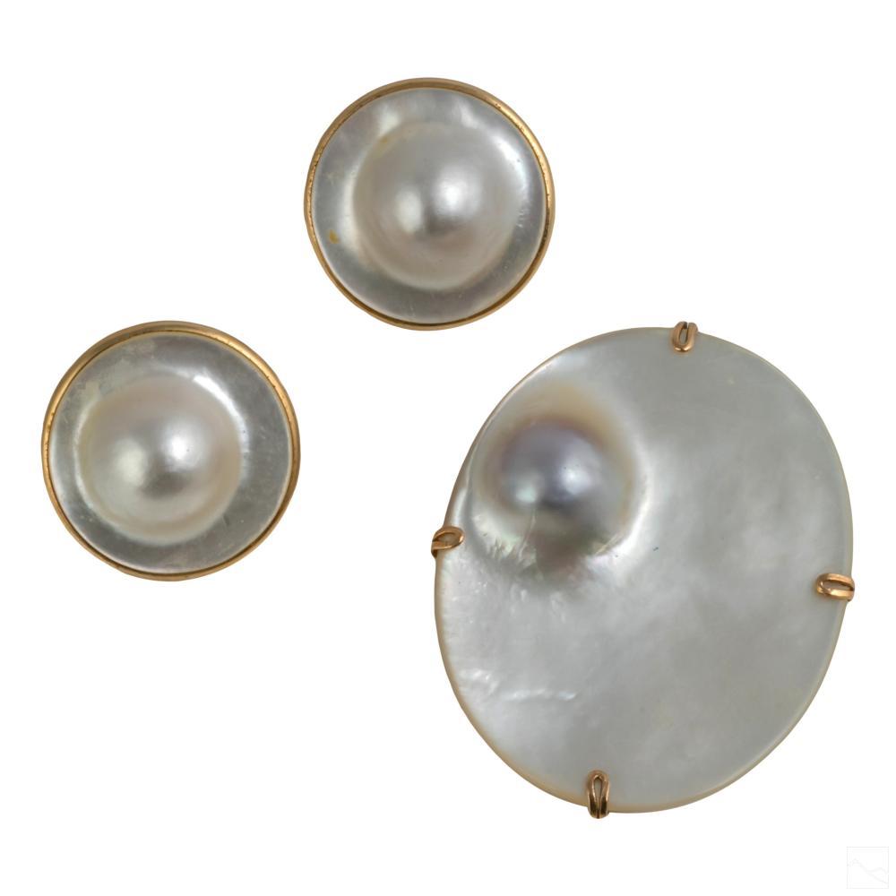14K Gold Blister Pearl Earring & Pendant 3 Pc SET