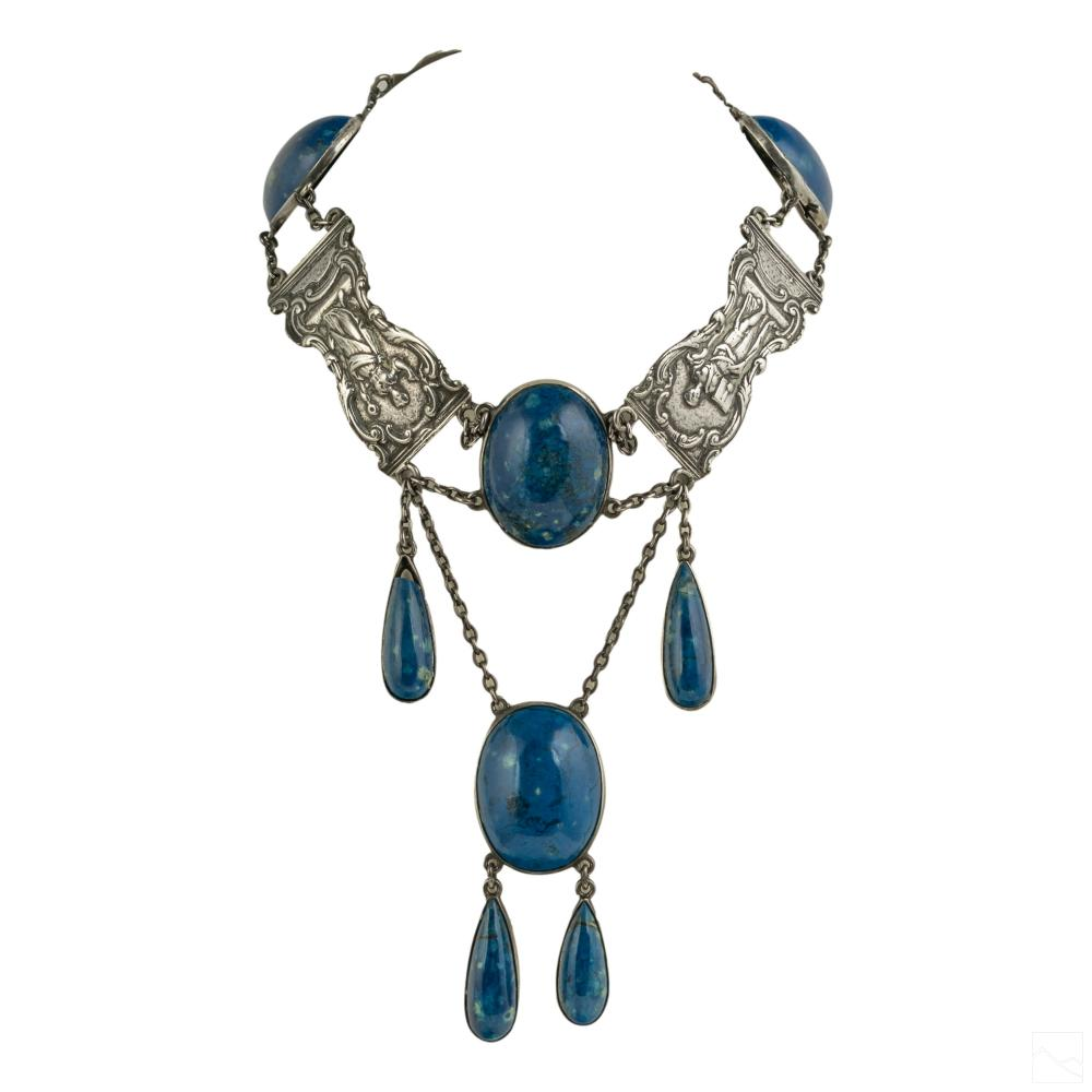 Art Deco Sterling Silver and Lapis Choker Necklace