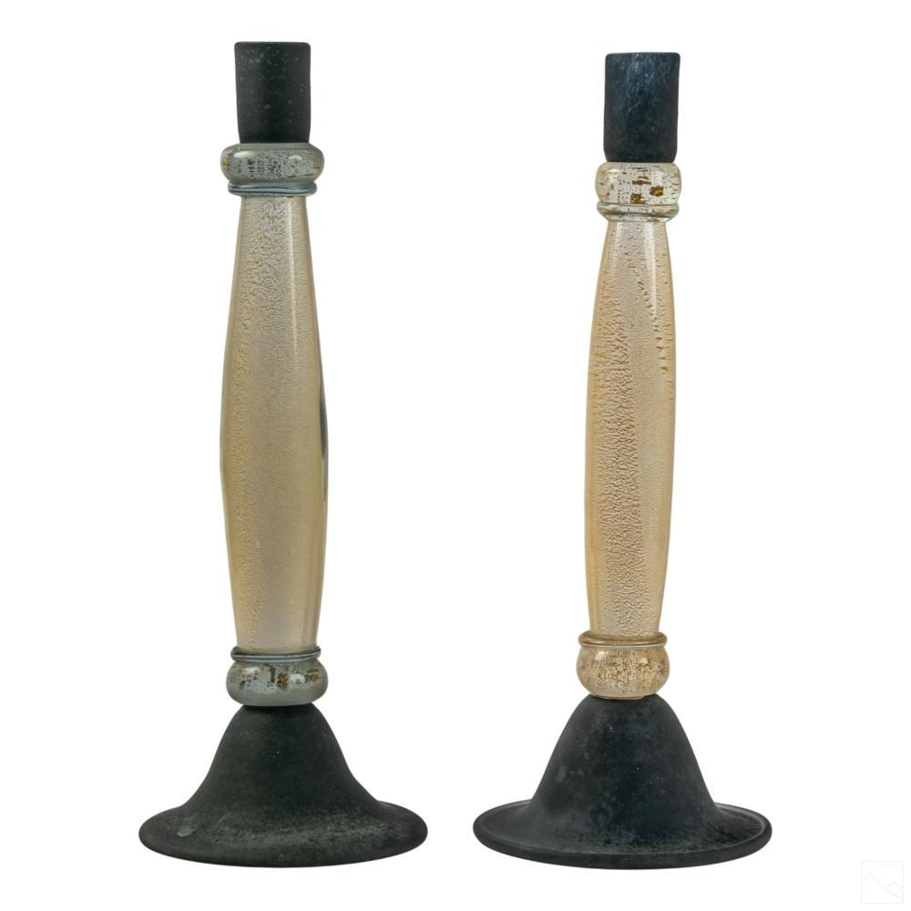 Murano Italian Art Glass Gold Flecks Candlesticks