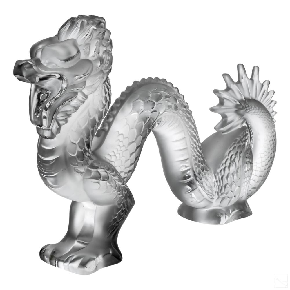 Lalique French Crystal Dragon Figurine Sculpture