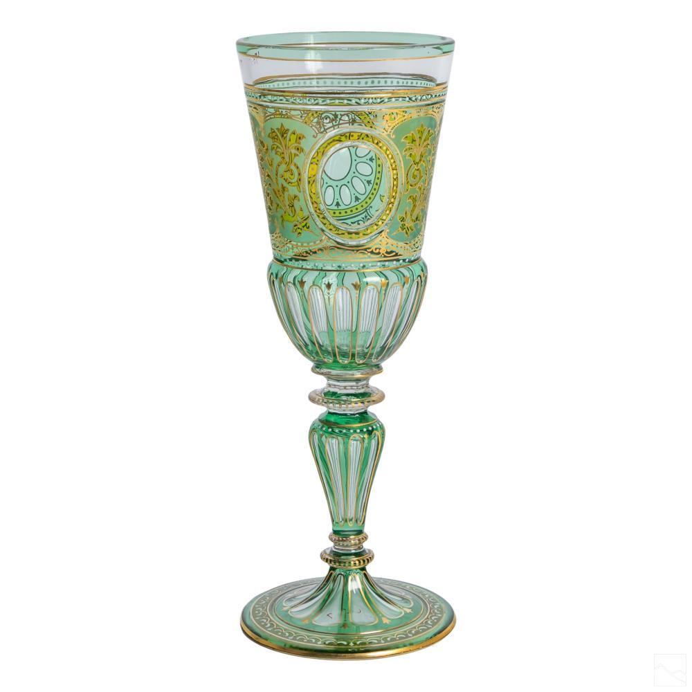 Bohemian Czech Moser Style Green Gold Glass Goblet