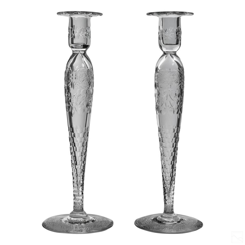 American Brilliant Cut Glass ABCG Candlestick PAIR