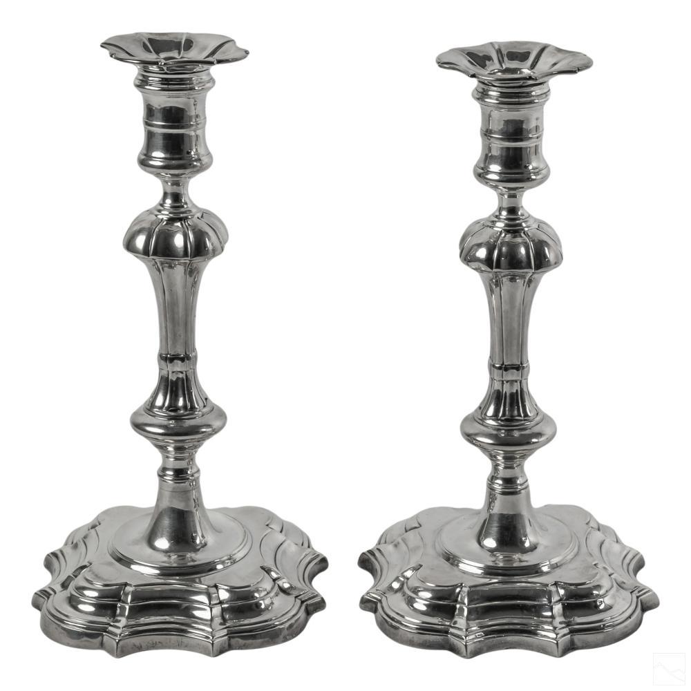 Large James Robinson Sterling Silver Candlesticks