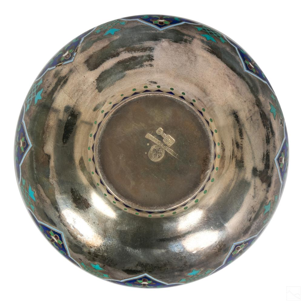Ovchinnikov Russian 91 Silver Enamel Bowl 234g