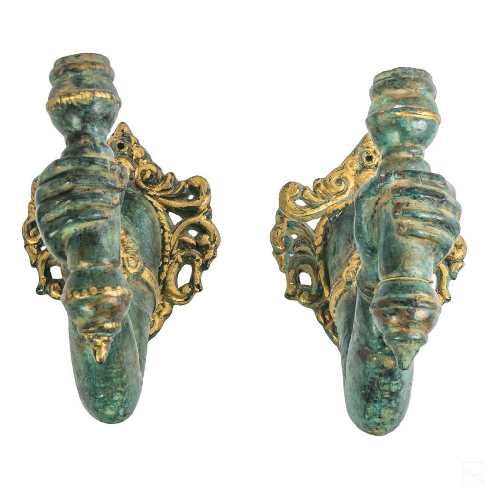 Orientalist Bronze Gilt Figural Arm Candle Sconces