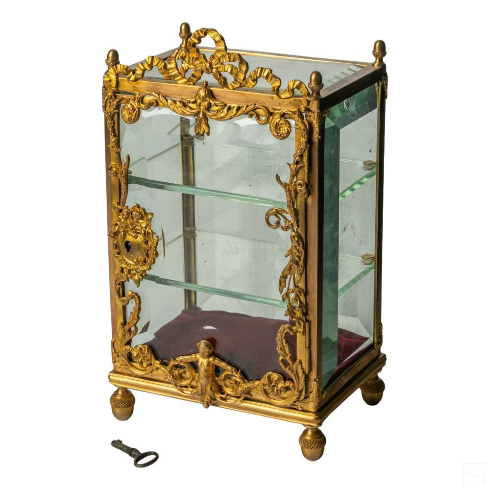French Dore Bronze Antique Vitrine Case Box & Key