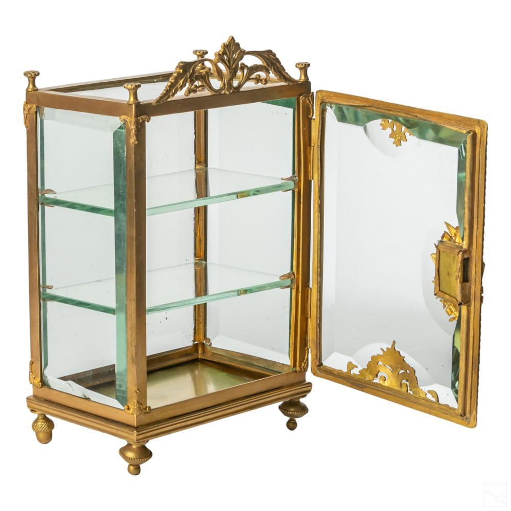 French Dore Bronze Antique Vitrine Cabinet Case