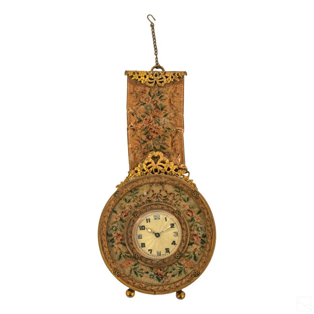 Swiss Antique Dore Metal Petit Point Vanity Clock