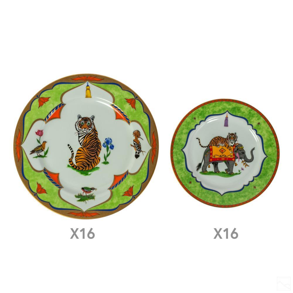 Lynn Chase Tiger Raj China Dinnerware Plates 32PC