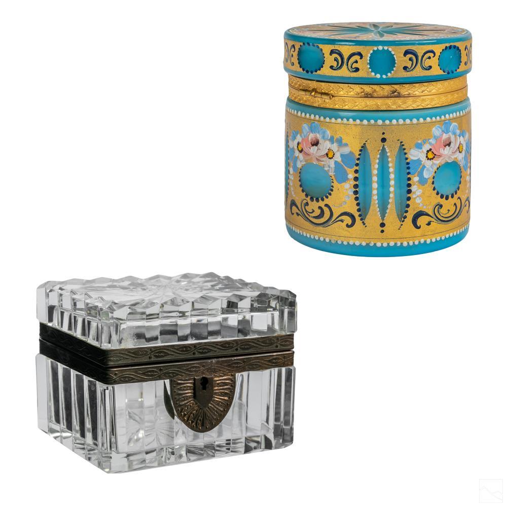 Glass Hinged Vanity Dresser Jewelry Casket Box LOT
