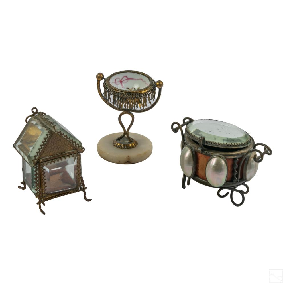 French Victorian Antique Vanity and Curio Box LOT