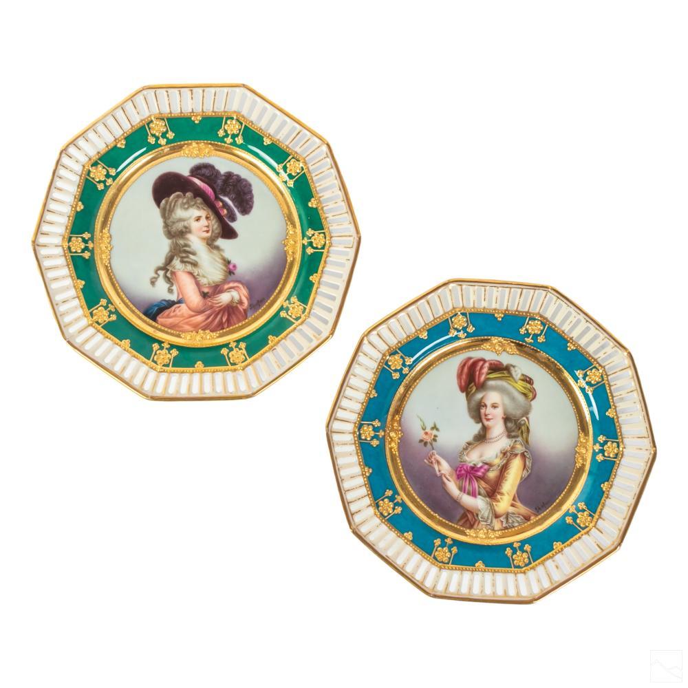 RK Dresden Marie Antoinette and Devonshire Plates