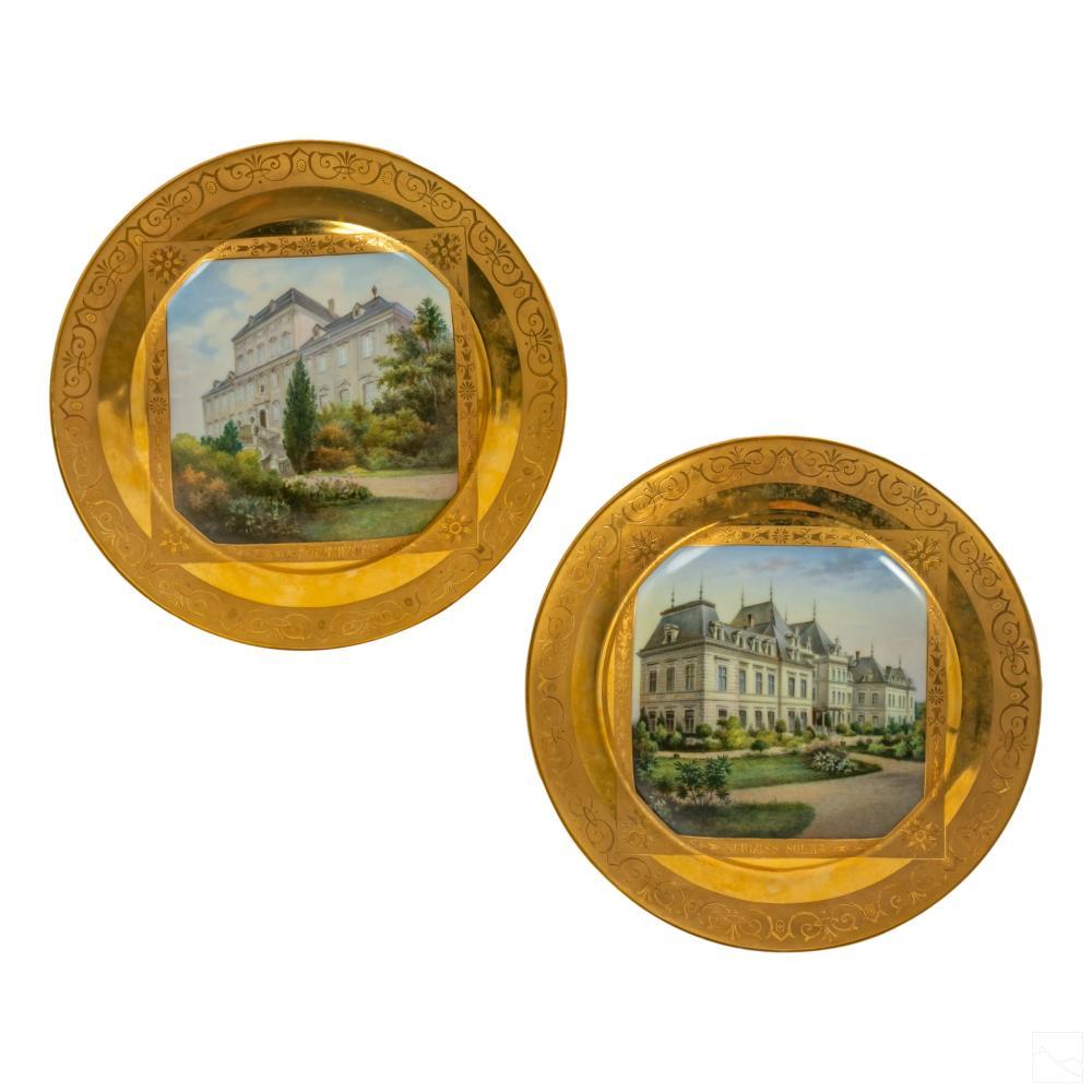 Royal Vienna (19C) Antique Castle Landscape Plates