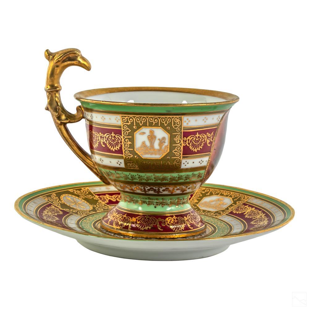 Royal Vienna (19C) Porcelain Portrait Cup & Saucer