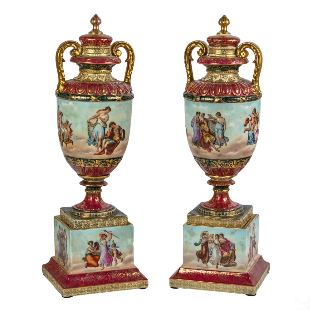 Royal Vienna Style Neoclassical Covered Urns Vases