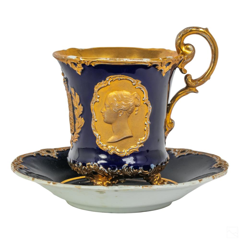 Meissen Porcelain Cobalt Gilt Tea Cup & Saucer SET