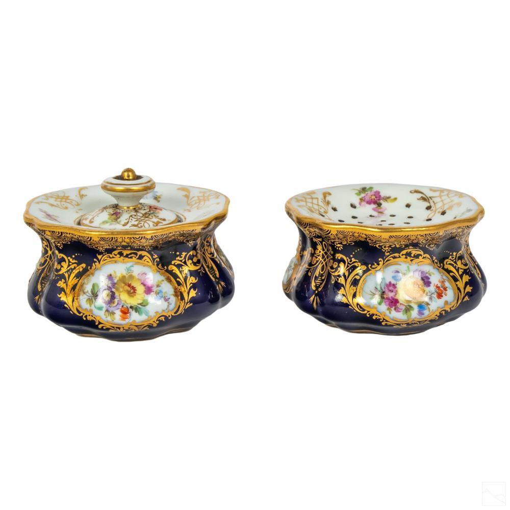Meissen Porcelain Cobalt Gilt Pound Box & Inkwell