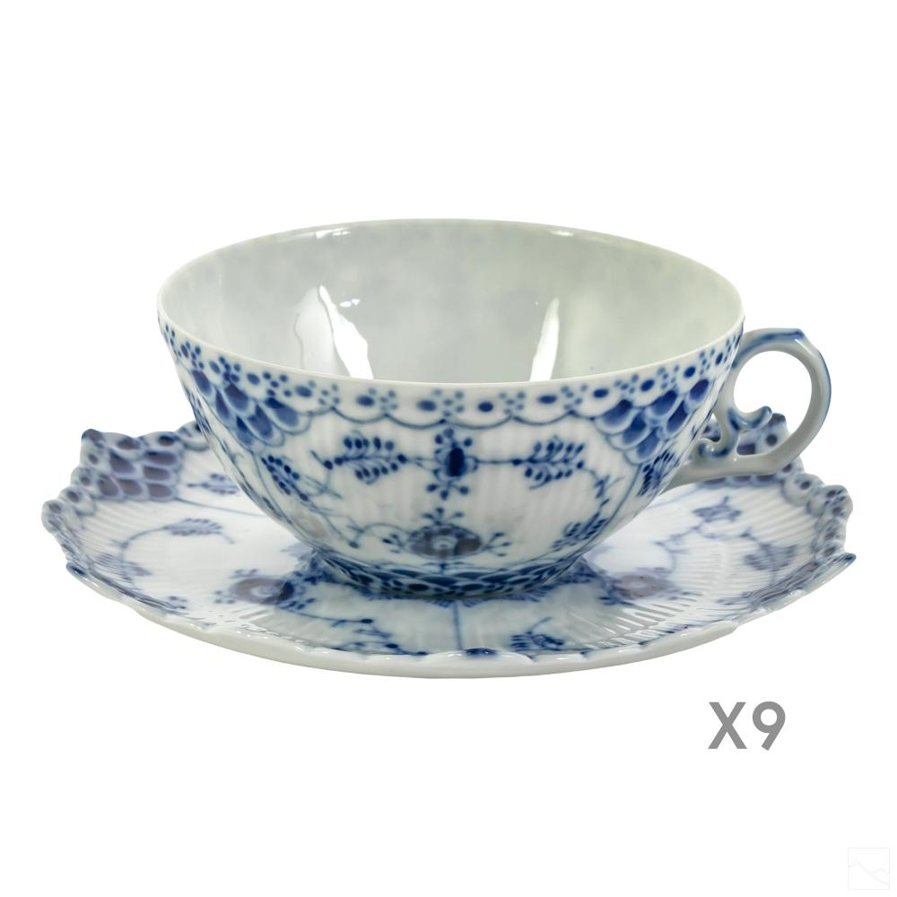 Royal Copenhagen Fluted Full Lace Cups and Saucers