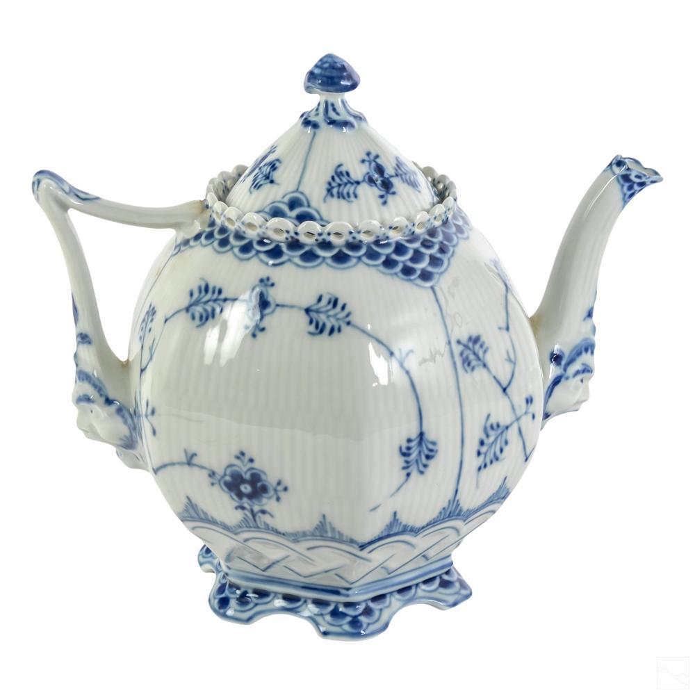 Royal Copenhagen Blue Fluted Lace Covered Tea Pot