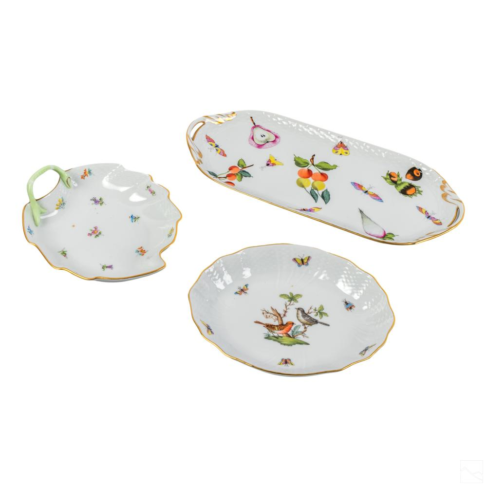 Herend Hungarian Porcelain Painted Serving Trays