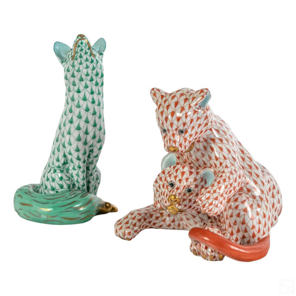 Herend Fishnet Porcelain Fox & Lion Cubs Figurines