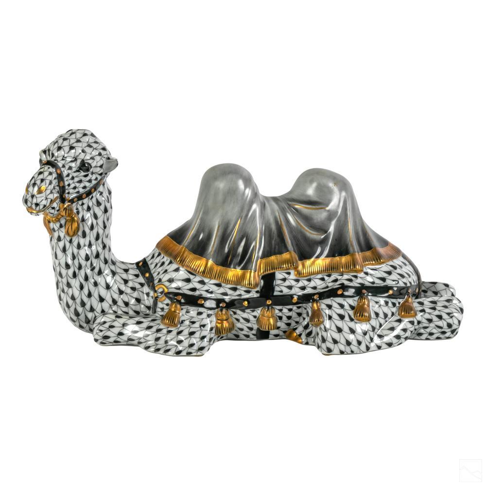 Herend Black Fishnet Porcelain Gilt Camel Figurine