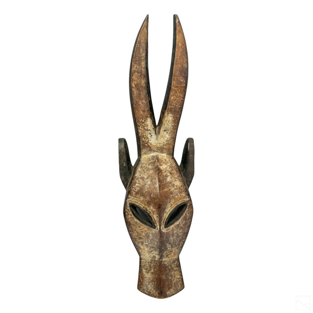 West African Mali Bamana Carved Wood Antelope Mask