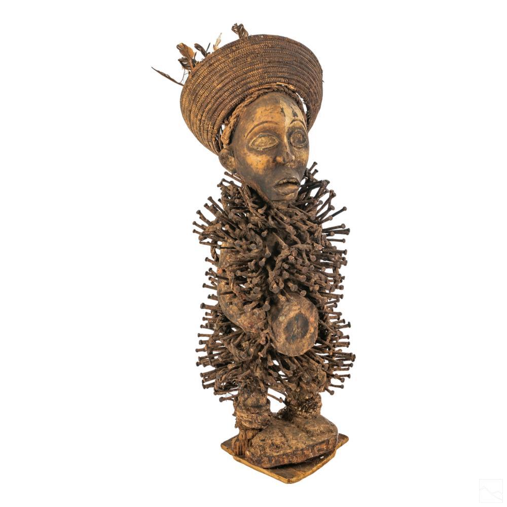 African Tribal Nkondi Nail & Wood Fetish Sculpture