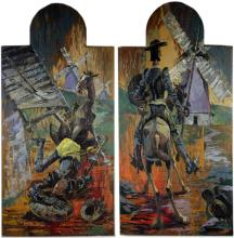 Phil Brinkman b.1916 Don Quixote Diptych Painting