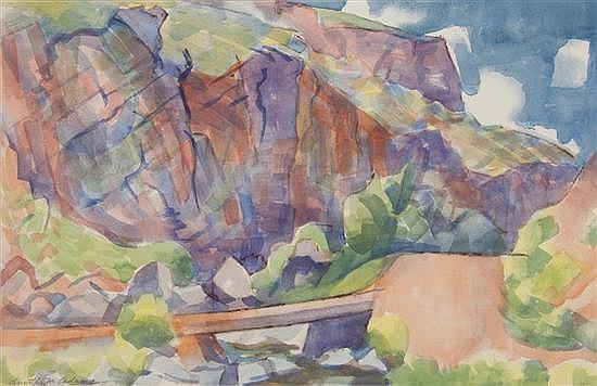 Kenneth Miller Adams, (American, 1897-1966), Canyon Bridge