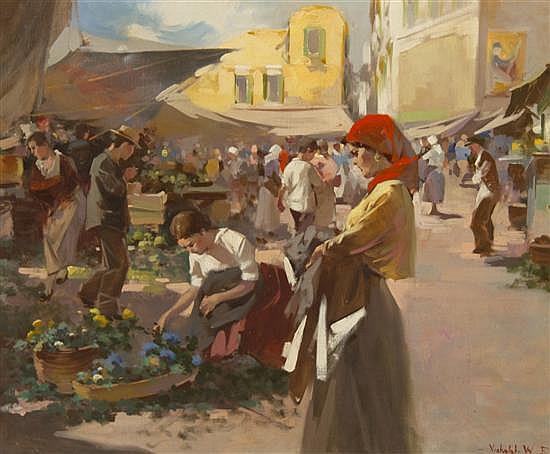 Witman Etelka Vizkeleti, (Hungarian, 1882-1962), Market Scene