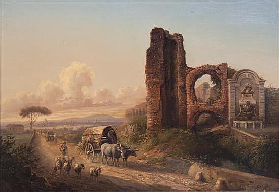 *Jacob Alt, (German, 1789-1872), Path Near Ruins