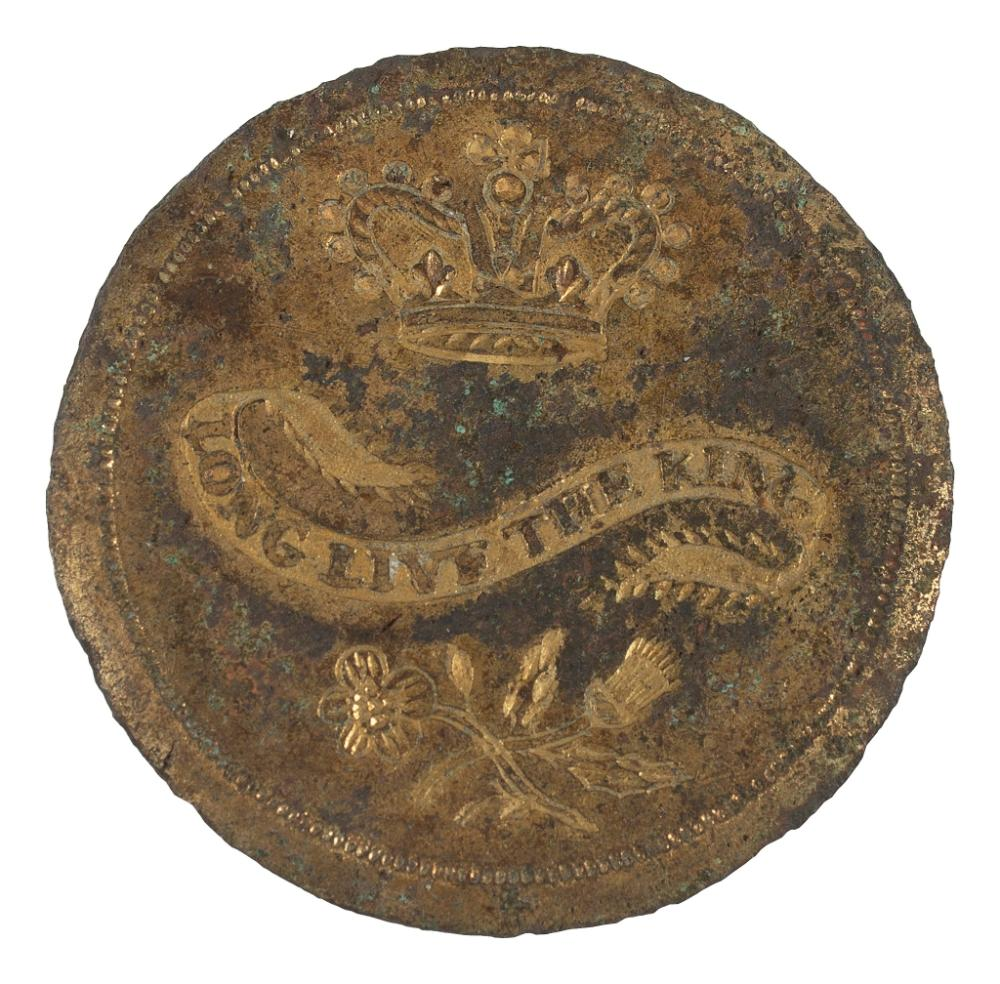 [GEORGE III, KING OF ENGLAND (1738-1820)]. Long Live the King gilt copper button. N.p., [1789].