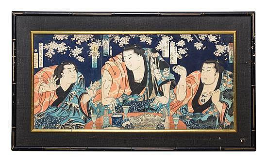 * Utagawa Kuniteru, (1808-1876), depicting a sumo wrestler banquet