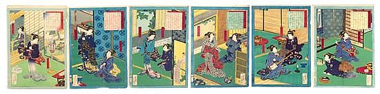 Utagawa Yoshiiku, (1833-1904), six sheets from Colors of Spring at Thirty-Six Restaurants