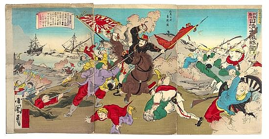 Utagawa Kokunimasa, (1874-1944), Incident in Korea, Fierce Battle During the Sino-Japanese War, 1894