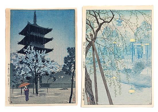 * Kasamatsu Shiro, (1898-1992), Pagoda in Rain at Dusk (Yanaka, Tokyo) and Shinobazu Lake in Tokyo (two works)