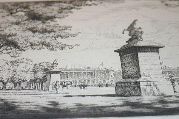 Maurice Achener, (French, 1881-1963), Place de la Concorde and Les Cypres, together with three prints depicting landscapes by Zeuridele