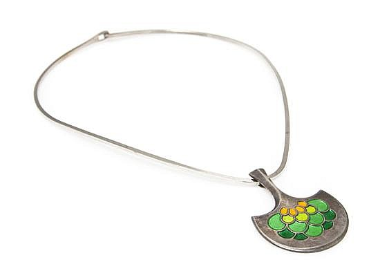 A David Andersen Sterling Enamel Pendant Necklace.